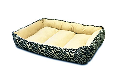 HappyCare Textiles HCT REC-002 Rectangle Ultra-Soft Printed Dog and Pet Bed, Large, Black Zebra