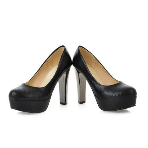 VogueZone009 Womens Closed Round Toe High Heel Chunku Platform Soft Material PU Solid Pumps, Black, 6 UK