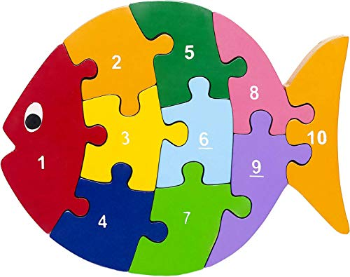 Eco-Friendly Wooden Fish Numbers Puzzle - Toddler Puzzle, Preschool Toy, Ages 2-4