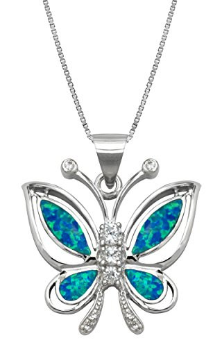 Honolulu Jewelry Company Sterling Silver Butterfly CZ Necklace Pendant with Simulated Blue Opal and 18