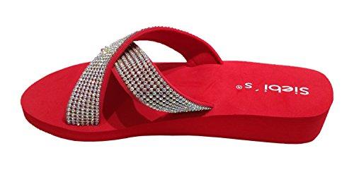 Siebi's Nizza Beach Shoe Beach Shoes Mules With Platform and Extra Easy Red BPuTvjWyZ