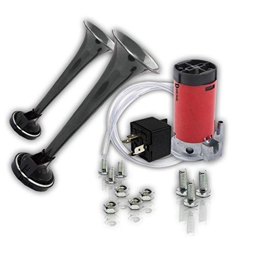 Zento Deals 12V DC Super Loud Dual Car Air Horn Trumpet Compressor Kit Focus...