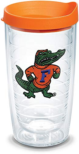 Tervis 1084963 Florida Gators Albert Tumbler with Emblem and Orange Lid 16oz, Clear