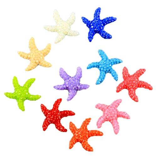 Zeroyoyo 10pcs Mixed Color Fish Tank Supplies Cute Resin Miniature Starfish Ornaments Landscape Aquarium Decorations