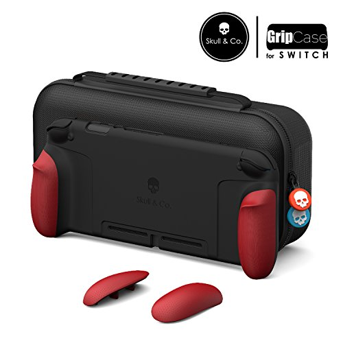 Skull & Co. GripCase Set: A Comfortable Protective Case with Replaceable Grips [to fit all hands sizes] for Nintendo Switch - Mario Red (Switch Hand)