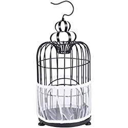 AWASBO Sheer Guard Bird Cage Skirt, Bird Cage Seed Catcher Seeds Guard Nylon Mesh Net Cover (L, White)