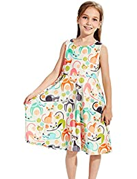 Girl's Floral Sleeveless Skirts Kids One Piece Dresses School Party Casual 4-13 Years Old