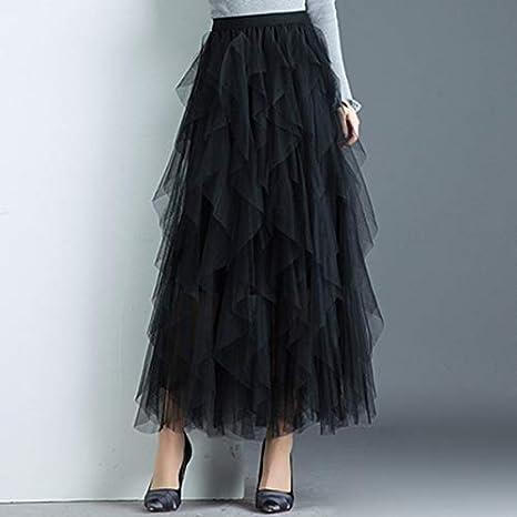 HEHEAB Falda,Las Mujeres Negras Irregulares Faldas De Tul Elástico ...