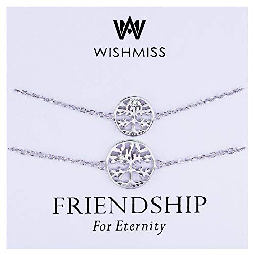 (WISHMISS Sterling Silver 925 Infinity Endless Love Symbol Charm Bracelet for Women Gift for Mother's Day (Tree Bracelet Set))