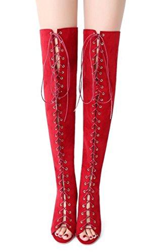 Mujer Punta Cordones Alta Sandals de Atractivo Tacón Minetom Rojo Gladiator Zapatos Club Rodilla Verano Abierta de Zapatos Botas xFqHCd