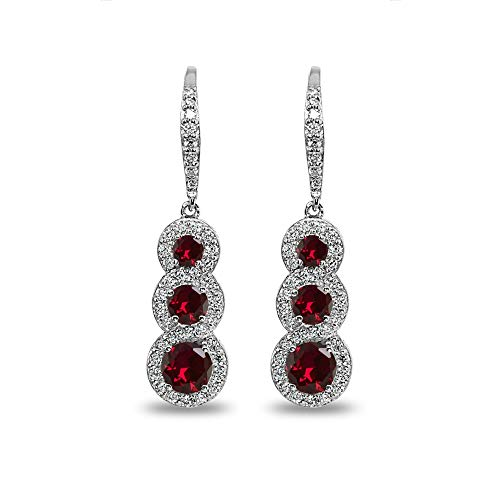 Sterling Silver Created Ruby Journey Halo Three-Stone Dangle Leverback -