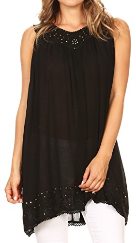 Sequin Tank Trim (Sakkas 16521 - Rita Womens Picot Trim V Neck Tank Blouse with Seqins and Embroidery - Black - OS)