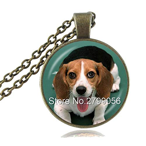 Beagle Necklace Pet Dog Pendant Animal Jewelry Glass Cabochon Art Picture Statement Necklace Dog Breed Neckless Gifts for Mom - Art Cabochon