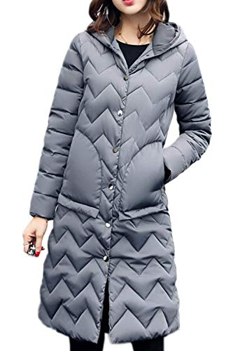 Color Larga Espesar Encapuchado Elegantes Invierno Caliente Acolchada Manga Ultraligero Chaqueta Outdoor Mujer Pluma Sólido Grey Largos Moda Retro Empacable Parkas Outwear pnUx0p