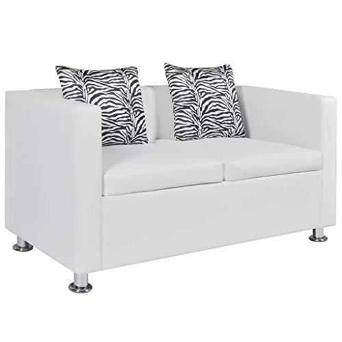 vidaXL Sofá Moderno de 2 Plazas Cuero Artificial Blanco Sillón de Salón Casa a buen precio