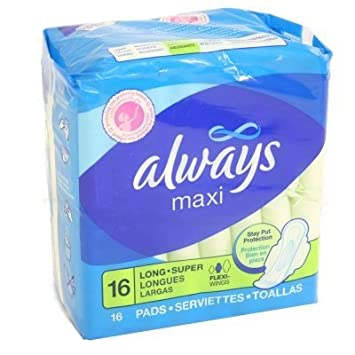 Amazon.com : Always Maxi Lng Spr W/Wng Size 16ct Always Maxi Long Super W/Wings 16ct : Sanitary Napkins : Beauty