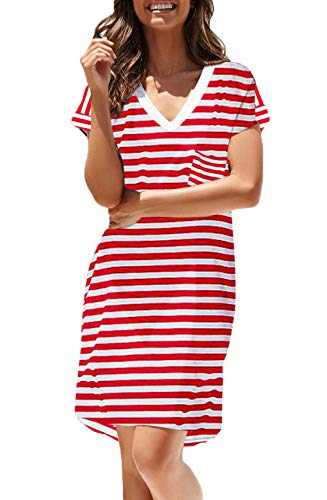 NERLEROLIAN Women T-Shirt Stripe Dress with Pockets V-Neck Knee Length Loose Tunic Summer Dress (Red Stripe, Small)