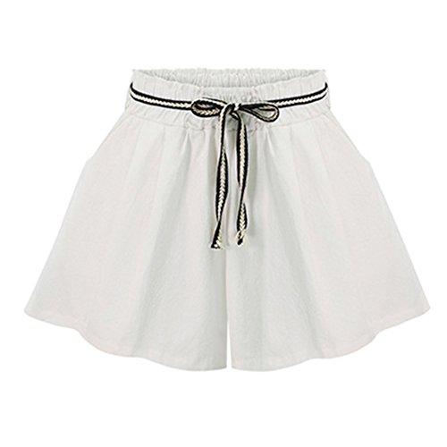 Elastica Vita Pantaloni Pantaloncini Corti Guiran Donna Bianca Con XqIxgq7w