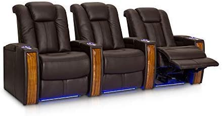 Seatcraft Monaco Leather Power Recline Home Theater Seating Chairs Powered by SoundShaker Row of 3, Black