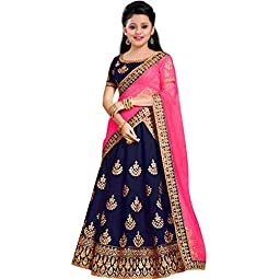 bless you Girl's Tafetta Silk Semi-stitched Lehenga Choli