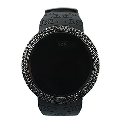 Techno Pave Iced Out Bling Lab Diamond Black on Black Digital Touch Screen Sports Smart Watch with Rubber Silicone Band (Diamond Band Watch Custom)