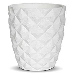 Taper Round Planter [Set of 3] Size: 8.8 cm H x 8 cm W x 8 cm D, Colour: White