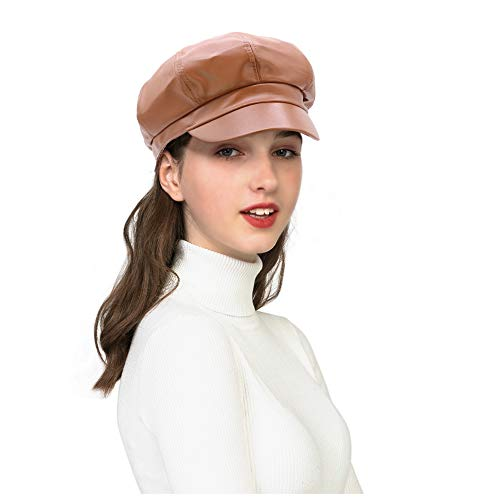Leather Ladies Hats (WETOO Leather Newsboy Cap Women Vintage Cabbie Bakerboy Hat Beret Cap)
