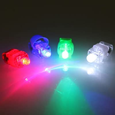 Flashing Panda FingerBeams LED Finger Ring Flashlights, 10 Cards of 4 Color Flashlights Each - 40 Lights Total