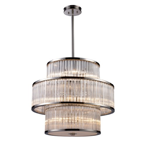 (ELK 10130/5+5+5, Braxton Large Drum Pendant, 15 Light, 300 Total Watts, Polished Nickel )