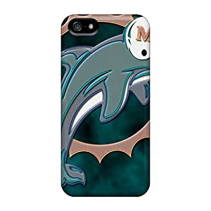 Protector Hard Phone Case For Iphone 5/5s With Support Your Personal Customized HD Miami Dolphins Image AaronBlanchette
