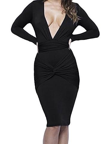 YeeATZ Slinky Knotted Long Sleeve Knee Length Dress(Black,2XL) (Rugged Bear Plush)