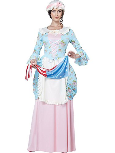 California Costumes Women's Colonial Lady Costume, Blue/Pink, -