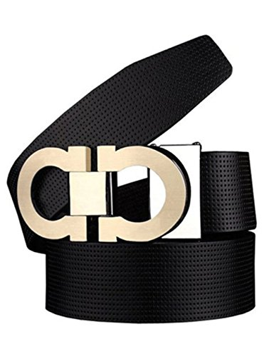 Men's Smooth Leather Buckle Belt 35mm Leather up to 42inch (105-115cm for Choose) 110cm - Cheap Fashion Men