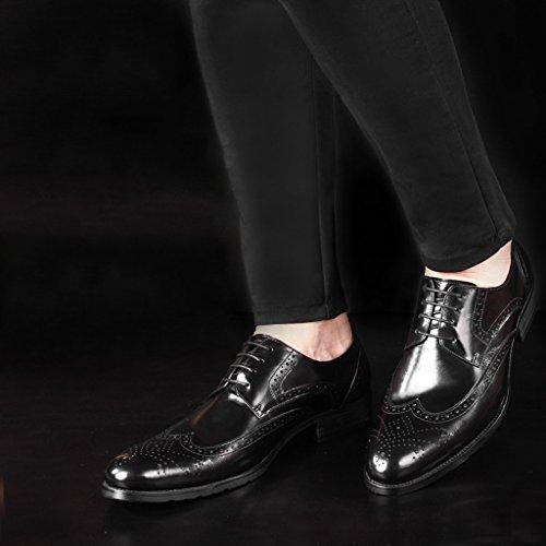 HWF Scarpe Uomo in Pelle Scarpe da uomo in pelle traspirante Retro stile britannico appuntito a mano scarpe da lavoro casual (Colore : Nero, dimensioni : EU40/UK6.5) Nero