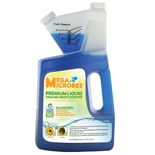 MegaMicrobes Patented No-mixing Liquid Drain, Septic, Trap and Pump Treatment for Natural Removal of Fats, Oil and Grease 64oz Bottle