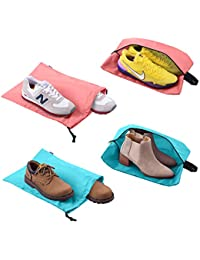 Shoe Bags for Travel Accessoires Men & Women Large Shoe Bag with Drawstring and Zipper for Storage Golf Gym 4-Pack (2 Color)