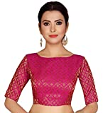 Studio Shringaar Women's Brocade Poly Silk Stitched Elbow Length Sleeves Blouse (S2124, Pink, 2X-Small)