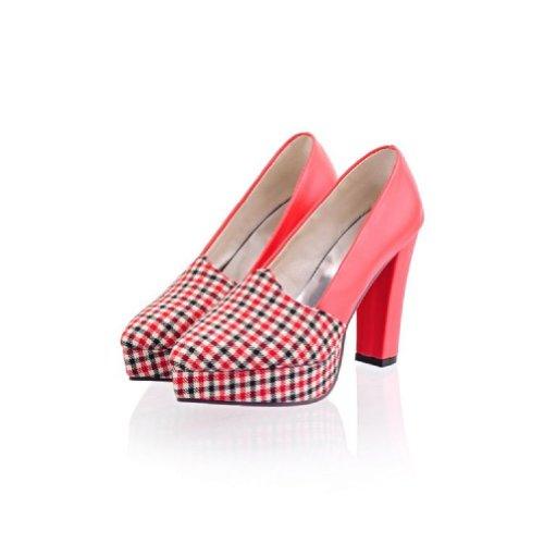 Charm Foot Fashion Plaid Womens Platform High Heel Pumps Shoes Red CCyT9yJ