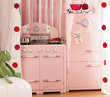 Amazon.com : Pottery Barn Kids Pink Retro Kitchen Oven & Icebox ...