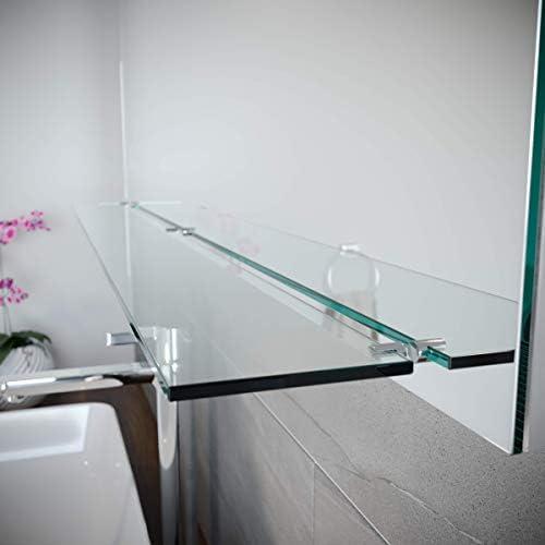 Spiegel ID ZUSATZOPTION für LED Badspiegel | Ablage aus Glas (10cm tief und 6mm dick) | Ausführung: Klar