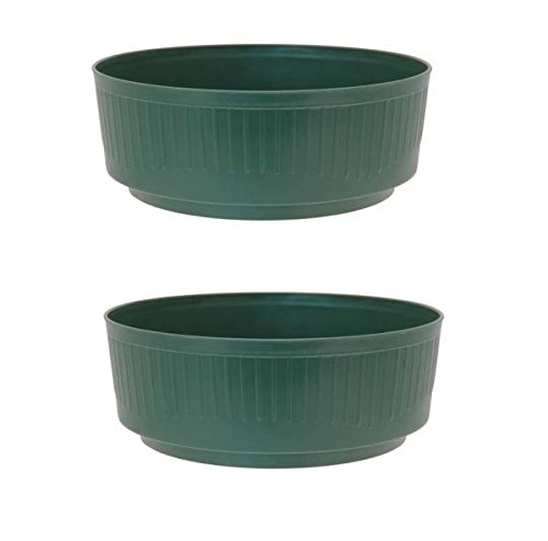 2 x Green Medium 20.5cm Round Plastic Garden Bulb Bowl Storage Grow Tub APAC