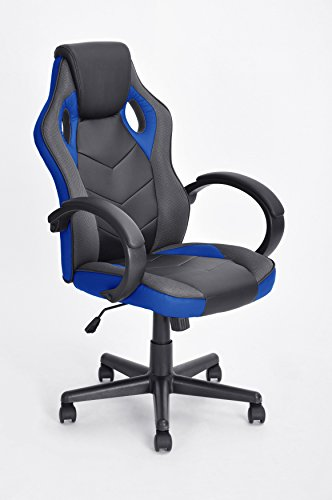 Executive Racing Style Office Chair PU Leather Swivel Computer Desk Seat High-Back Gaming Chair in Black and Blue by eHomeProducts