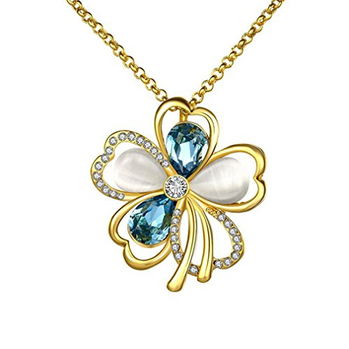 G&T Sterling Silver Fashion Flower Necklace Pendant Inlay crystal For Women Girl(C3)