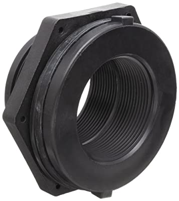 Dixon 604 Series Polypropylene Pipe and Welding Fitting, Bulkhead, NPT Female, Hole Size