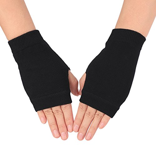 Flammi Women's Knit Fingerless Gloves Mittens with Thumb Hole (Solid Black) -