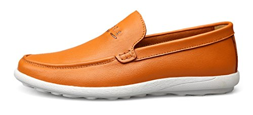 TDA Mens Slip-On Casual Comfort Leather Driving Penny Loafers Dress Business Shoes Orange O88eDx