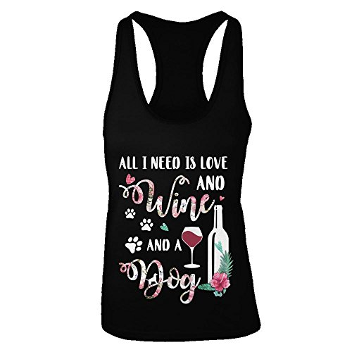 a3b684d210e4 TeesNow Women s All I Need is Love and Wine and A Dog Shirt Tri-Blend