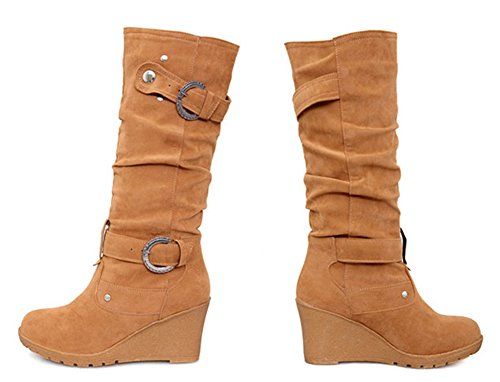 Buckle Round Casual Heels Studded Boots Calf Brown Womens Mid On Toe Mid Slouchy Strap Wedge Aisun Comfort Pull wIq8EwBc