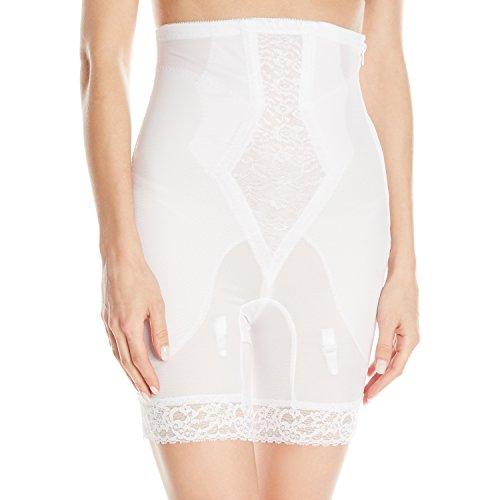 Rago Women's High Waist Medium Shaping Zipper Long Leg Shaper, White, 5X-Large (40)