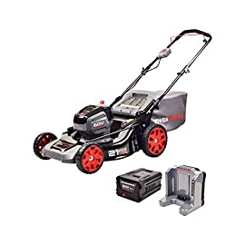 "POWERWORKS 60V 21-Inch Brushless Mower 81 21"" steel cutting deck features a 3-in-1 design, allowing you to mulch, rear bag, or side discharge grass clippings High-efficiency 60V brushless motor with push-button start provides more power, torque, and longer life without the hassle of gas Stores vertically, taking up less space in your garage or shed for added convenience"